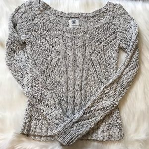 AEO Black Gray White Open Knit Long Sleeve Sweater